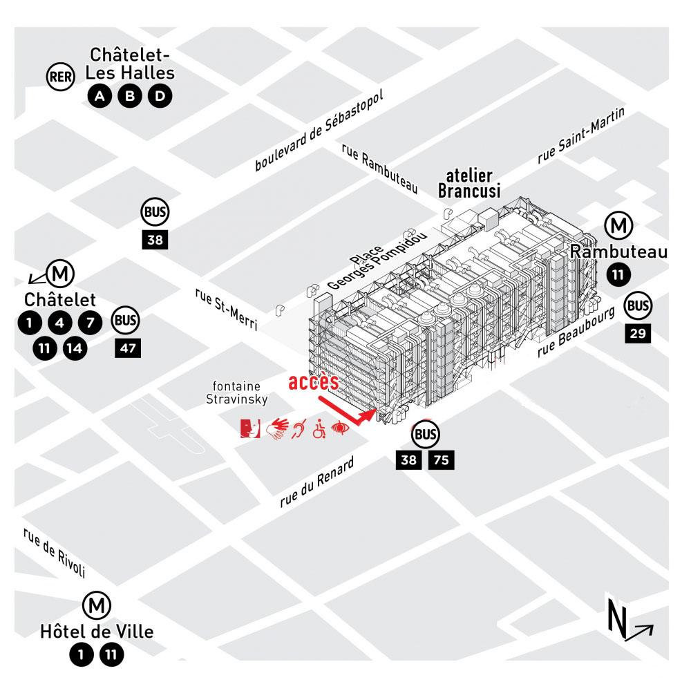 Plan d'accès au Centre Pompidou pendant les travaux